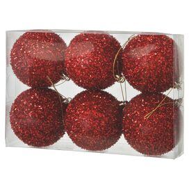 Pom Pom Ornament in Red (Set of 6)