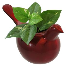 Enchanted Bird Planter in Ruby