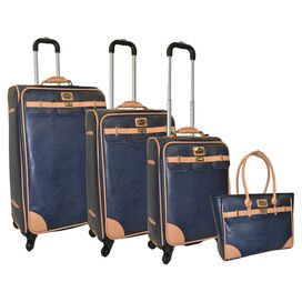 4-Piece Saffiano Rolling Luggage Set in Navy