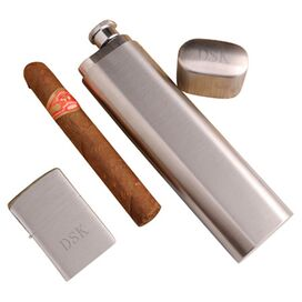 2-Piece Personalized Cigar Case Flask & Lighter Set