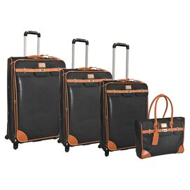 4-Piece Saffiano Rolling Luggage Set in Cognac
