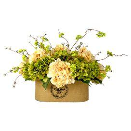 Faux Cream & Green Hydrangea