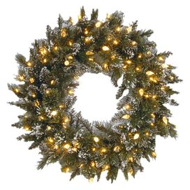 Pre-Lit Faux Bristle Pine Wreath
