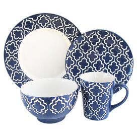 16-Piece Quatrefoil Dinnerware Set in Navy
