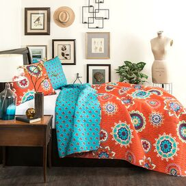 Adanna Quilt Set in Tangerine
