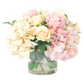 Faux Mixed Roses & Hydrangea