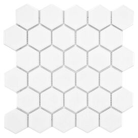 Hexagon Mosaic Porcelain Tile in White (Set of 10)