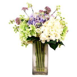 Faux White Hydrangea & Lavender