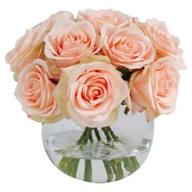 Faux Pink Rose in Glass Vase