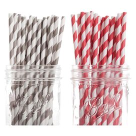 Ella Paper Straw in Red & Gray (Set of 50)