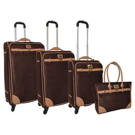 4-Piece Saffiano Rolling Luggage Set in Brown