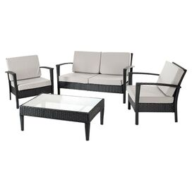 4-Piece Stratford Rattan Seating Group Set in Black