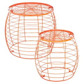 2-Piece Camden Indoor/Outdoor Stool Set in Orange