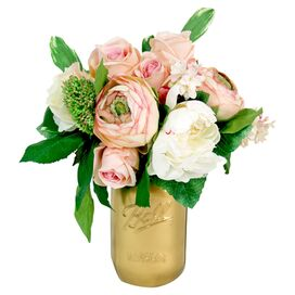Faux Peony & Rose in Gold Jar
