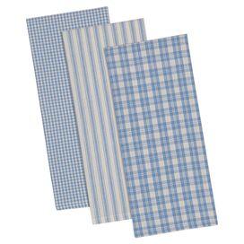 Plaid Dishtowel in Blue (Set of 3)
