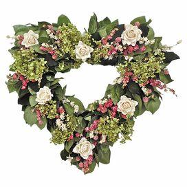 Preserved White Rose Heart Wreath