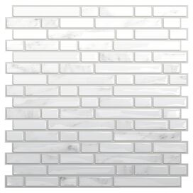 Beatrice Mosaic Tile in White & Gray (Set of 6)