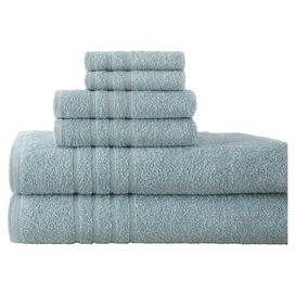 6-Piece Sienna Egyptian Cotton Towel Set in Ice Blue