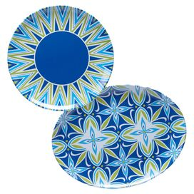 2-Piece Mediterranean Melamine Platter Set in Blue