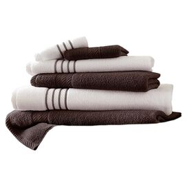 6-Piece Striped Egyptian Cotton Towel Set in Mocha