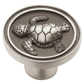 Sea Turtle Cabinet Knob in Brushed Satin Pewter
