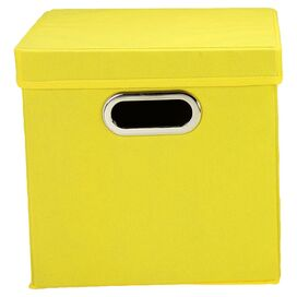 Lidded Storage Cube in Yellow (Set of 2)