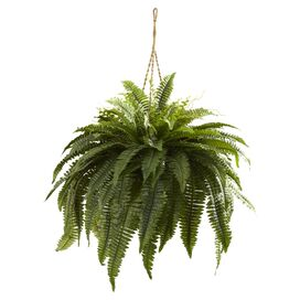Faux Hanging Boston Fern