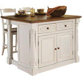 Monarch 3 Piece Kitchen Island & Stool Set in White