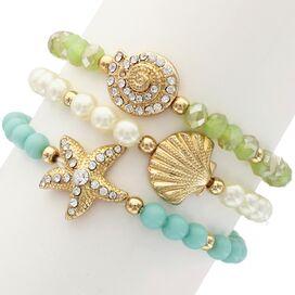 3-Piece Starfish & Shell Bracelet Set