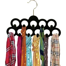 Velvet Scarf Hanger in Black (Set of 3)
