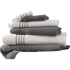 6-Piece Striped Egyptian Cotton Towel Set in Platinum