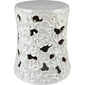 Teagan Garden Stool in White