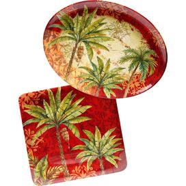 2-Piece Sunset Palm Platter Set