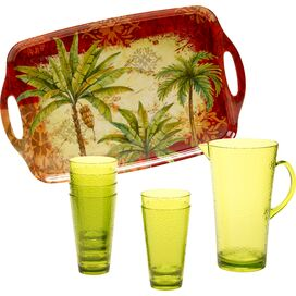 8-Piece Sunset Palm Beverage Set