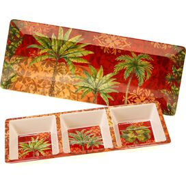 2-Piece Sunset Palm Divided Serving Dish Set