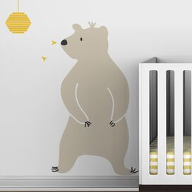 Bear & Hive Wall Decal in Light Beige