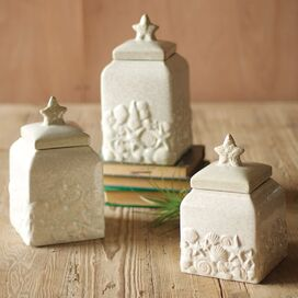 3-Piece Seashell Canister Set