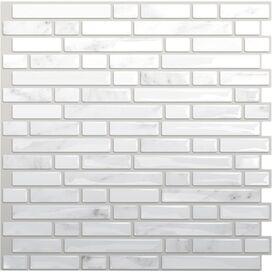 Self-Adhesive High-Gloss Mosaic Tile in White & Gray
