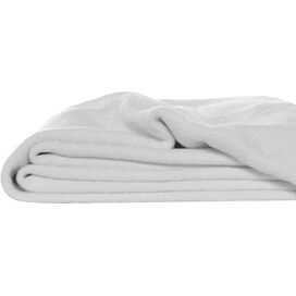 Herringbone Cotton Throw Blanket in White