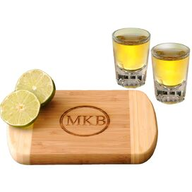 3-Piece Personalized Bamboo Board & Shot Glass Set