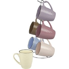 Basketweave Mug & Stand Set