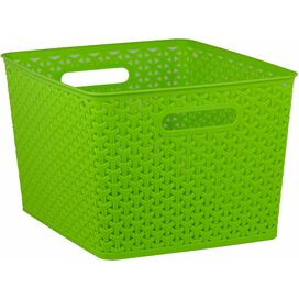 Extra-Large Woven Storage Basket in Green