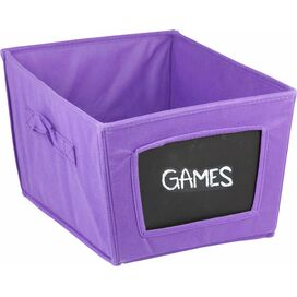 Fabric Chalkboard Storage Bin in Purple