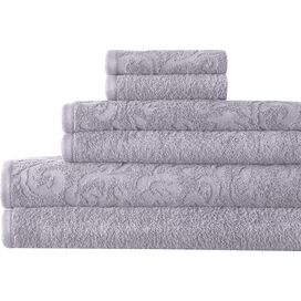 6-Piece Egyptian Cotton Towel Set in Gray Violet