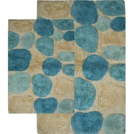 2-Piece Pebbles Bath Mat Set in Aquamarine