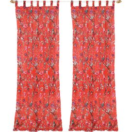 Floral Tab Top Curtain Panel