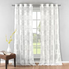 Medallion Semi-Sheer Grommet Curtain Panel