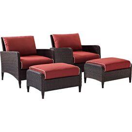 4-Piece Kiawah Patio Arm Chair & Ottoman Set