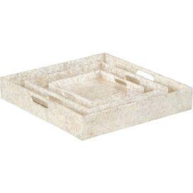 3-Piece Capiz Tray Set