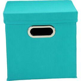 Lidded Storage Cube in Aqua (Set of 2)